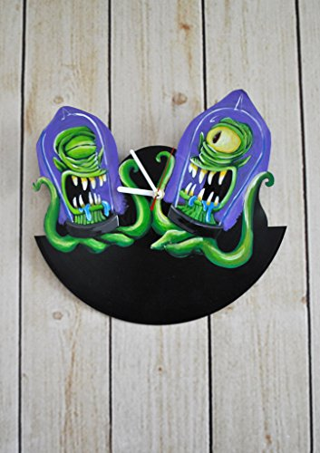 Cartoons Aliens Design HANDPAINTED Vinyl Record Wall Clock - Get Unique Home Room Wall Decor - Gift Ideas For His and Her - Comedy Characters Figures Unique Fan Art