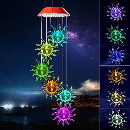 Wind chimes outdoor,gifts for mom,solar wind chimes,sunflower wind chime,outdoor decor,mom gifts,mom birthday gift,gardening gift,grandma gifts,color wind chime solar,windchimes unique outdoor