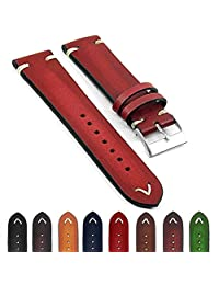 StrapsCo st11 Faded Vintage Leather Mens Watch Band w/ Minimal Stitching in Red 22mm
