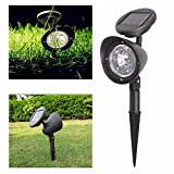 Hulorry Solar Wall Mount, LED Light Spotlight Outdoor Fence Lamp Waterproof Landscape Solar Light Led Solar Light Outdoor Garden Decoration Solar Lamp for Garden, Patio and Pathway
