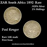 1892 ZA ZAR Paul Kruger South Africa 2½ Shillings .925 African Silver. 1892 Rarest Issue. 2½ shillings Fine