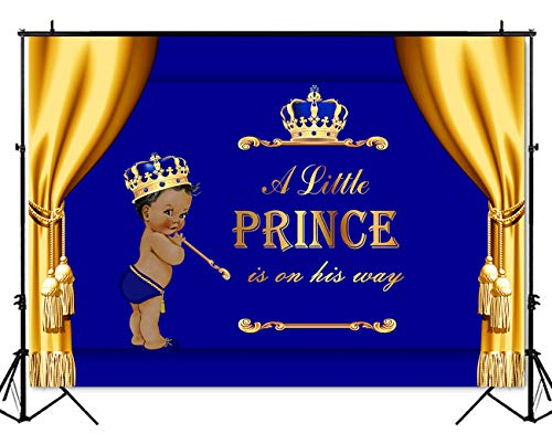 Mehofoto Royal Baby Shower Backdrop Gold Curtain Little Prince Photography Background 7x5ft Vinyl Royal Blue Baby Shower Party Banner Backdrops ()