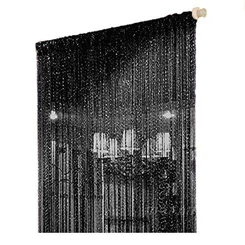 Hdecor 39X78 inch Door String Curtain Rare Flat Silver Ribbon Thread Fringe Window Panel Room Divider Cute Strip Tassel for Wedding Coffee House Restaurant Parts (Black)