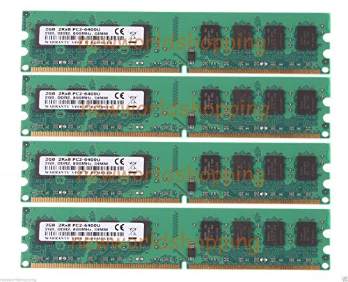 FidgetGear DDR2 8GB 4X 2GB 2G PC6400 PC2-6400 800MHz DIMM Low Density Desktop Memory RAM