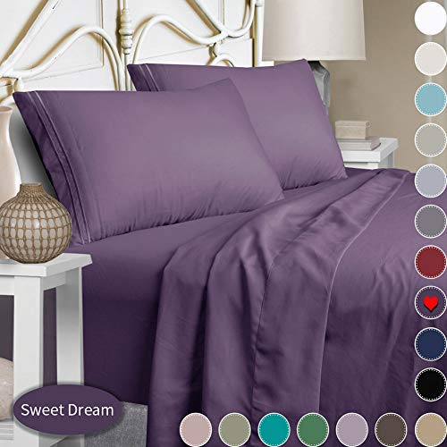 Mejoroom Bed Sheets Set,Extra Soft Luxury King Size Sheets with 15-inch Deep Pocket,Premium Bedding Collection - Breathable Wrinkle Fade Stain Resistant Hypoallergenic - 4 Piece (King, Purple) (Purple King Size Sheet Set)