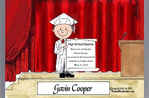 Personalized Friendly Folks Cartoon Side Slide Frame Gift: Graduation - Male Great for high school, college, tech school graduation