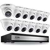 ZOSI 720p 16 Channel Video Surveillance System,16 Channel Hybrid DVR Recorder with 12 x 1280TVL(720p) Weatherproof Indoor/Outdoor Dome Camera Kit,Easy Remote Access,No Hard Drive