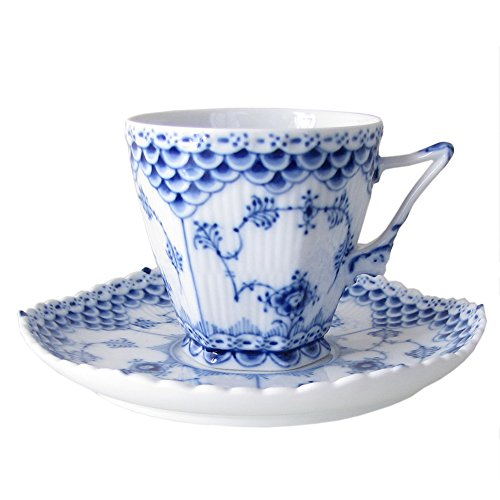 Blue Fluted Full Lace 5 Oz Cup and Saucer