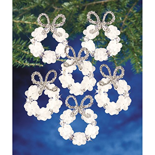 Beadery Holiday Beaded Ornament Kit, 2.25-Inch, Frosted Wreath, Makes 16 Ornaments (Ornament People Christmas)