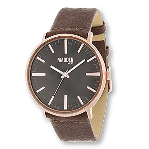 Madden Mens Alloy Analog Minimalist Design Field Watch Rose Gold & Brown (Vegan Leather Watch Man)