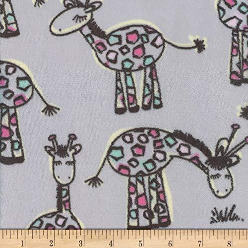 Mook Fabrics Super Soft Velour Fleece Giraffe Fabric, Grey, Fabric By The Yard