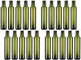 ''Timotea'' Green Glass Bottle Container, Round Base 8.45 Fluid Ounces (250ml) Capacity (Pack of 20) [ Italian Import ]