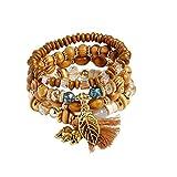 Women Adjustable Handmade Multilayer Bohemian Stretch Acrylic Beaded Charm Bracelet Gifts for Teens Boy Girl Lady (C)