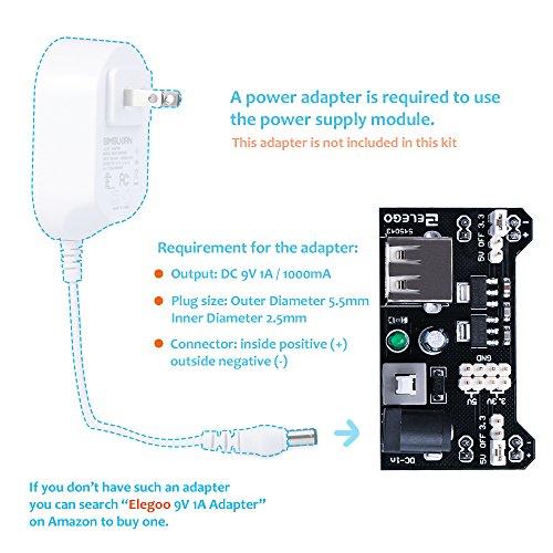 ELEGOO Upgraded Electronics Fun Kit w/Power Supply Module, Jumper Wire, Precision Potentiometer, 830 tie-points Breadboard for Arduino, STM32 by ELEGOO (Image #5)