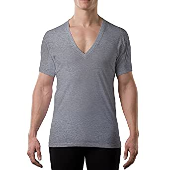 Thompson Tee with Underarm Sweat Pads Original Fit DeepV, Heather Gray, Large