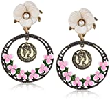Betsey-Johnson-Womens-Vintage-Flower-Clip-On-Drop-Earrings