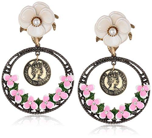 Betsey-Johnson-Womens-Vintage-Flower-Clip-On-Drop-Earrings
