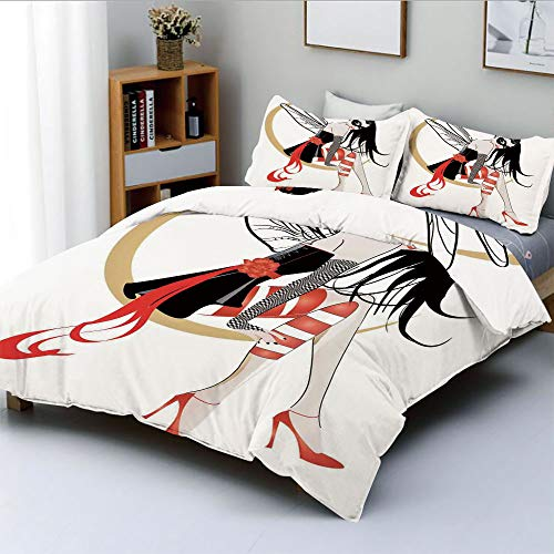 Duplex Print Duvet Cover Set King Size,Stylish Girl with Mask and Wings on The Moon Luna Fantasy Artsy High Heals FashionDecorative 3 Piece Bedding Set with 2 Pillow Sham,Black Red,Best Gift for Kids