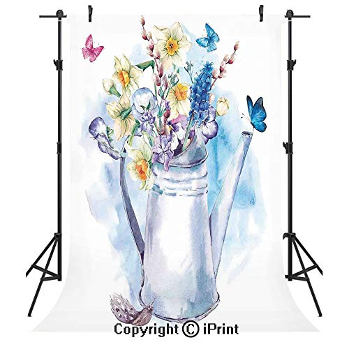 Daffodil Photography Backdrops,Summer Bouquet with Violets Puss Willows and Butterflies in Old Fashion Watering Can,Birthday Party Seamless Photo Studio Booth Background Banner -