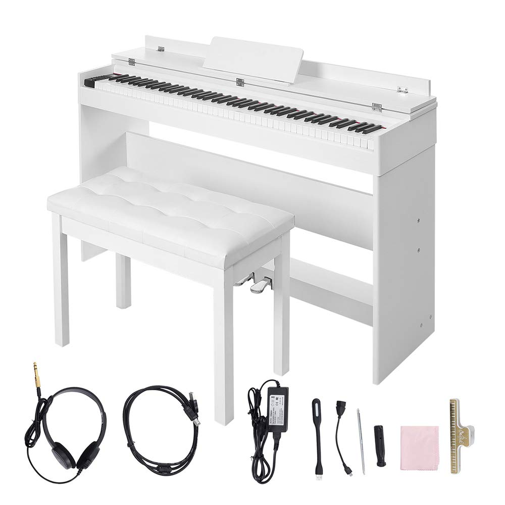 Digital Piano,Les Ailes de la Voix 88 Key Electric Piano Portable for Beginner Adults with Bench,3 Pedal Board,Music Stand,Power Adapter, Headphone,Instruction Book White by LES AILES DE LA VOIX
