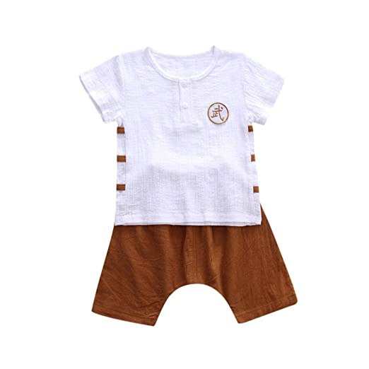 c54c4e10 TOOPOOT Baby Boy Short Sleeve T-Shirt Tops+Short Pants Outfit Casual Outfit  Kung