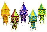 5pcs-25pcs Multi Color Indian Traditional Hanging Lamps shades Mirror Work Home Decor 2 Layer
