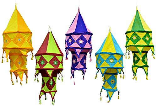 5pcs-25pcs Multi Color Indian Traditional Hanging Lamps shades Mirror Work Home Decor 2 Layer by Amazing India