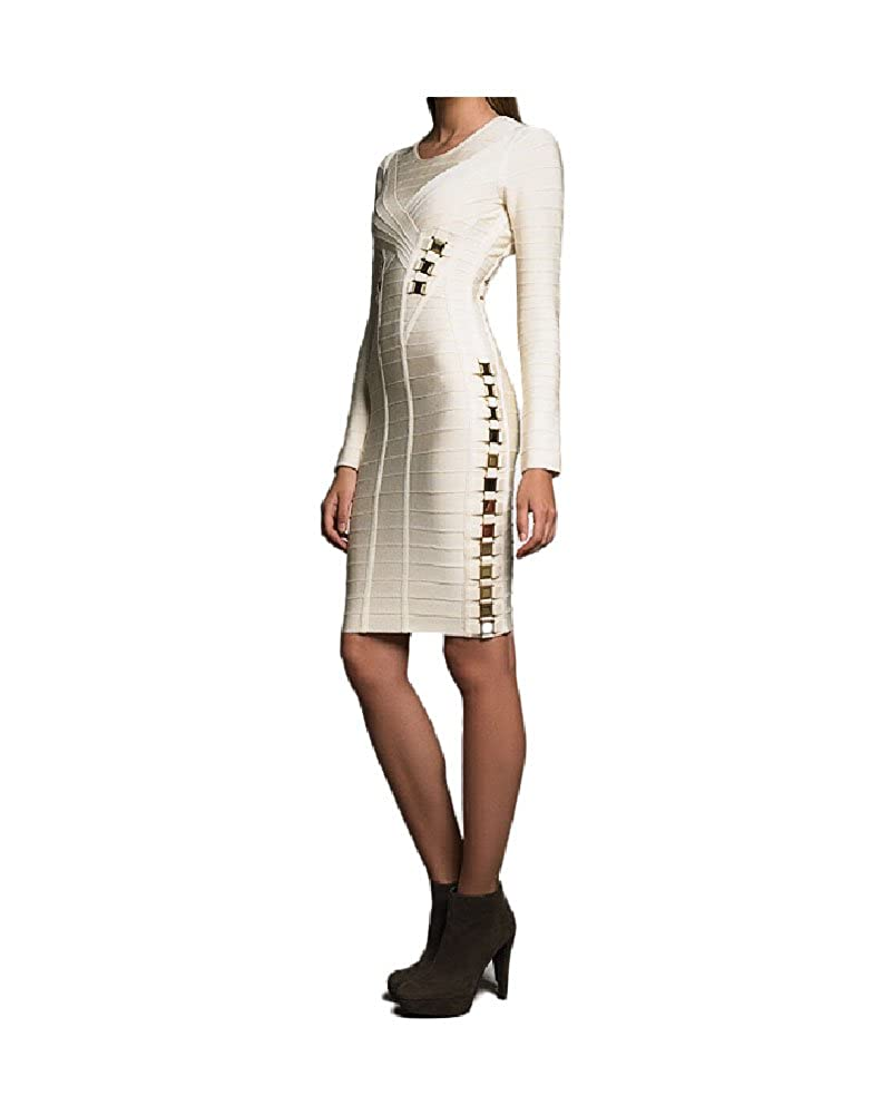 whoinshop Womens Long Sleeve Bandage Dress with Golden Metal Adorn Beige M
