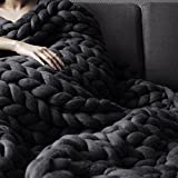 WAWEN Knit Throw Hand-made Knitting Blanket by Australia Merino Wool for Home Pet Bed Chair Sofa Yoga Mat Rug Graphite 200200