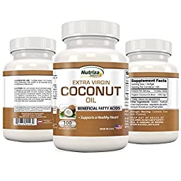 Coconut Oil Capsules - Extra Virgin Organic Coconut Oil Pills - 100 Softgels, 1000mg Each - Cold-Pressed - GMP CompliantFacility - Made in the USA