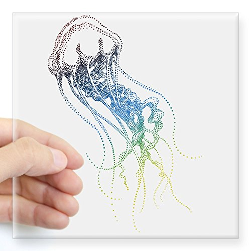 CafePress Colorful Jellyfish Drawing Sticker Square Bumper Sticker Car Decal, 3