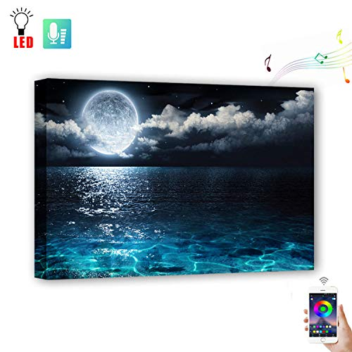 Wall Painting Art with Mobile Phone Remote Control, Powered by USB,Led Painting Picture Canvas Wall Art for Living Room,Change colors with the rhythm of music(15.75