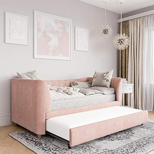Little Seeds Valentina Upholstered Trundle, Twin Size, Pink Velvet Daybed,