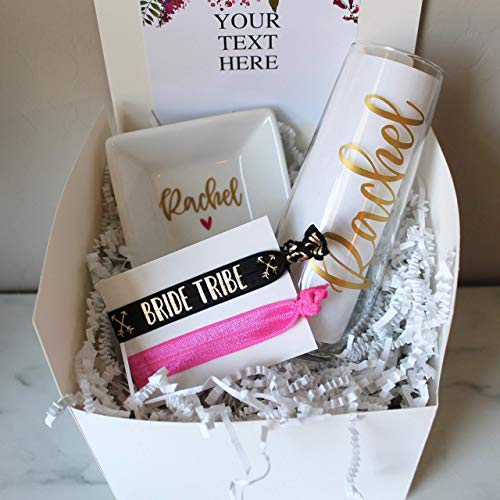 (Bridesmaid Gift Box with Champagne Flute | Personalized Ring Dish | Hair ties | Wedding Gift for Best Friend | Proposal | Will you be my Maid of Honor | TShirt)