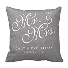 Lightinglife 20 Pillow Covers Square Gray Cotton Initials Mr. And Mrs. Wedding Pillow Cover