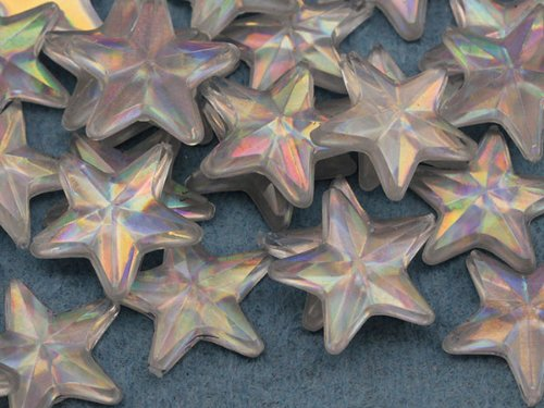 15mm Crystal AB Flat Back Acrylic Star Jewels High Quality Pro Grade - 35 Pieces (Jewel Star)