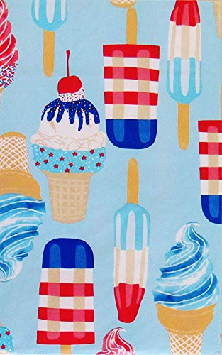 Round Red Vinyl - Red, White and Blue Summer Popsicles and Ice Cream Cones Vinyl Flannel Back Tablecloth (60