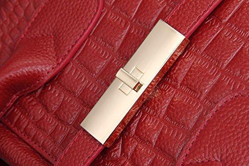 Genuine Hermiona Top Leather Wine handle Grain Bag Red Crocodile Shoulder Ladies' Tote qUrpUxtw6