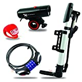 Xtreme Bright Ultimate Bike Kit, High Quality, Durable, All-In-One LED Bike Head Light/Tail Light and Cable Bike Lock and Bike Pump Combination Provides Ultimate in Rock-Solid Security and Convenience