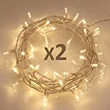 LED String Lights, [2 Pack] 40 LED [Timer] Battery Fairy Lights on 5M Clear String Cable for Indoor and Outdoor, Bedroom, Patio, Garden (8 Modes, 120 Hours of Lighting, IP65 Waterproof, Warm White)