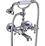 Chrome Finish Bathroom Shower Faucet Set Wall Mount Tub Filler Faucet Swivel Spout and Handheld Caremic Shower Bathtub Faucets
