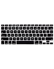 LENTION Silicone Keyboard Cover Skin Compatible for MacBook Air (13-inch, 2009-2017) - Model A1369 and A1466, MacBook Pro 13-inch and 15-inch (2015 and Older Versions) - US Edition, ANSI (Black)