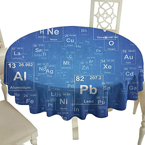 100% Polyester round tablecloth 70 Inch Science,Chemistry Tv Show Inspired Image with Periodic Element Table Image Print Art Blue and White Great for,family,outdoors,restaurant,Party,Wedding,Coffee Ba