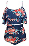 COCOSHIP Red Pink & Navy Blue Antigua Floral Ruffled Bikini Set Straps Flounce Falbala Top Tiered Ruched High Waist Bathing Swimsuit 14