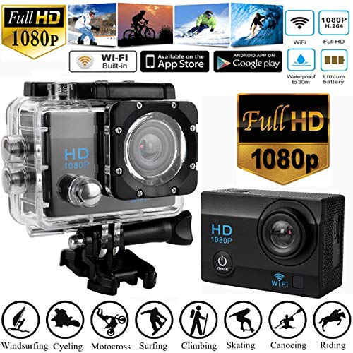 LtrottedJ Full HD 1080P Waterproof DVR 2.0inch Sports Camera WiFi Cam DV Action Camcorder