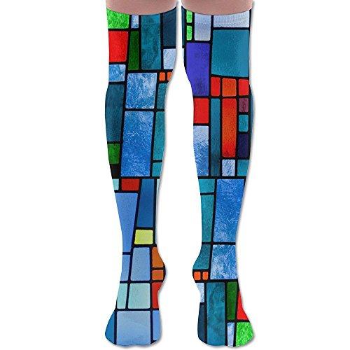 Irregular Geometry Art Fashion Long Socks Sports Warmer Stockings Over The Knee For Women & Men High - Irregular Octagon