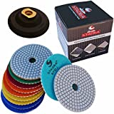 Diamond Polishing Pads 4'' inch Wet/Dry Set of 11+1 Backer Pad Best Value Granite Concrete