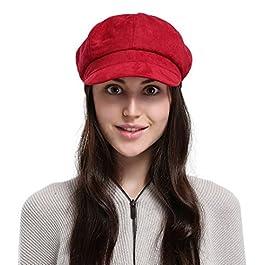 Jimall Ladies Winter Warm Faux Suede 8 Panel Baker Boy Cap Peaked Beret Hat Red