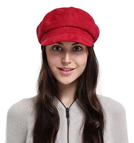 La Vogue Newsboy Cabbie Beret Cap for Women Beret Visor Bill Hat Red (Newsboy Red Hats)