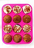Silicone Muffin Pan - 12 Cups Pink Mold & Baking Tray- Reusable, Non-Stick Bakeware For Cupcakes & Cakes - Heat Resistant, Food Grade & BPA-Free Silicone, Non-Toxic- FREE E-BOOK with 50 RECIPES!